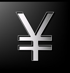 Yen sign gray 3d printed icon on black vector