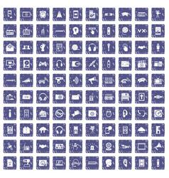 100 audio icons set grunge sapphire vector