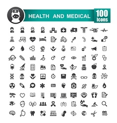 Set of 100 icon of health and medical 001 vector