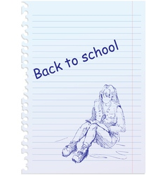 Back to school placard with hand-drawn girl vector