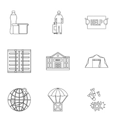 People fugitives icons set outline style vector image