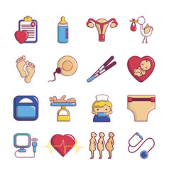 pregnancy icons set cartoon style vector image