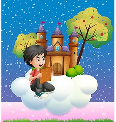 A boy reading a book in front of the floating vector image
