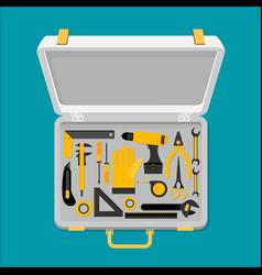 Workspace carpenter tools trendy flat icon vector