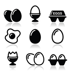 Egg fried egg egg box icons set vector image