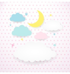 Kids background with moon clouds and stars vector