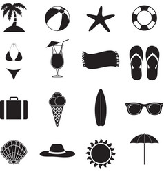 Summer beach black of silhouette icons vector