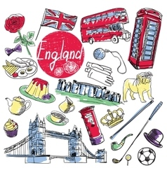 Set of tourist attractions england vector