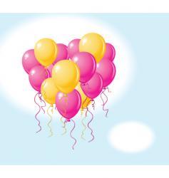 balloons heart sky vector image