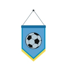 Blue pennant with soccer ball flat icon vector image