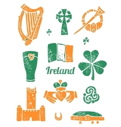 Symbol of ireland set in lino style vector