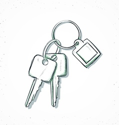 Isolated bunch of keys handmade in sketch style vector