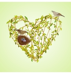 Spring twigs heart shape vector