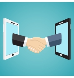 Handshaking businessmen hands from mobile phones vector image