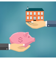 Hand with piggybank and hand with house vector image