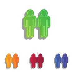 Gay family sign colorfull applique icons set vector
