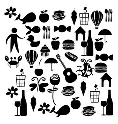 Black silhouette set elements daily life icon vector