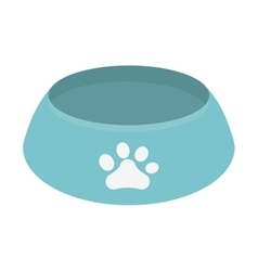 Blue bowl food dog paw print vector