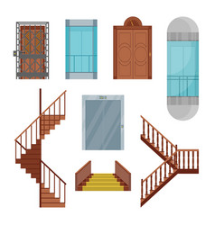 cartoon elevators and stairs set vector image vector image