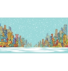 City panorama winter snow landscape in daylight vector image vector image