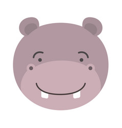 Colorful caricature cute face of male hippo animal vector