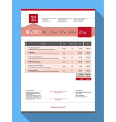 Customizable invoice form template design red vector