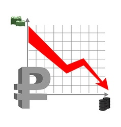 Graph fall ruble Russian currency flies down vector image