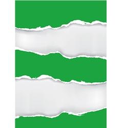 Green torn paper vector image