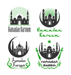 Greetings set for ramadan kareem holiday vector