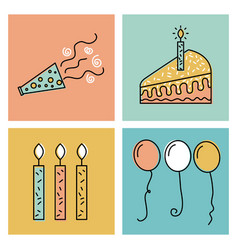 Happy birthday wish celebration time day icons vector
