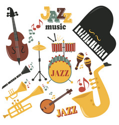 Jazz musical instruments tools icons jazzband vector