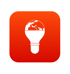 light bulb and planet earth icon digital red vector image