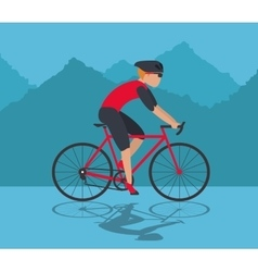 Man riding bike and mountain background design vector