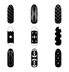 nails painted icon set vector image vector image