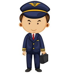 Pilot in blue suit carrying breifcase vector