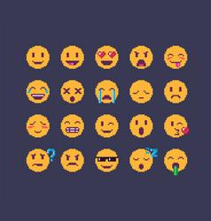 pixel art emoji icon set vector image