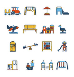 Playground equipment icons set cartoon style vector