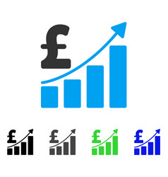Pound sales growth chart flat icon vector