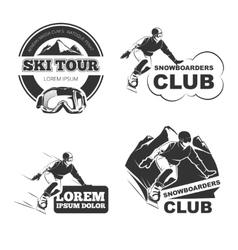 Retro ski emblems badges and logos set vector image vector image
