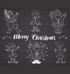santa claus and elfs gnomes hand drawn set merry vector image vector image