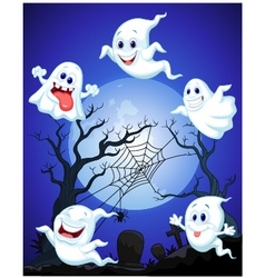 Scene with Halloween ghost vector image vector image