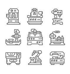 Set line icons of machine tool vector image vector image