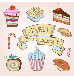 Set of cakes Decorative sketch vector image