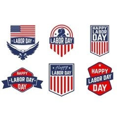 Set of labor day greeting card badge and vector