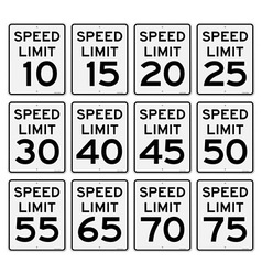 Speed limit sign set vector