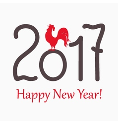 symbol red rooster for year 2017 vector image vector image