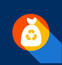 trash bag icon white icon on tangelo vector image vector image