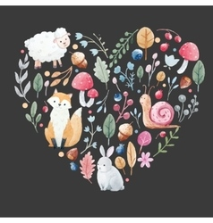 Watercolor heart with animals vector