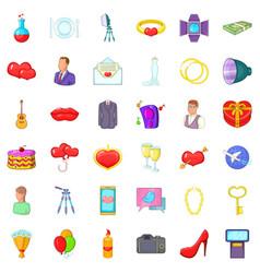 Wedding celebration icons set cartoon style vector