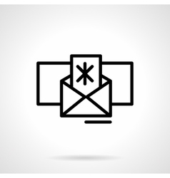 Winter mail icon black simple line style vector